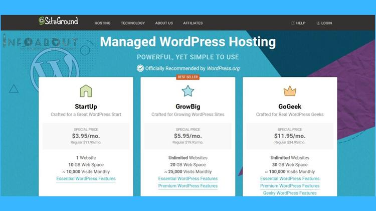 siteground Managed WordPress Hosting powerful reliable fast cpanel softaculous host, Auto scalable resources, Easy WordPress installation, Superfast hosting platform, Managed Security & Updates Free WordPress Transfer, Fast WordPress Launch